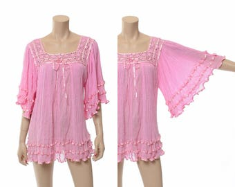 Vintage 70s Pink Sheer Gauze Tunic Top 1970s Mexican Gauzy Shirt, Hippie Angel Wing Blouse, Boho Festival Bell Sleeve Top / One Size