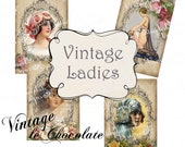 Vintage Floral Digital Paper, Roses and Vintage Ladies, Shabby Chic Collage, Vintage, Labels, Vintage Scrapbook Supplies. No. 601