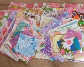 40z Retro floral vintage bundles // Scraps and remnants de stash // bed sheet  fabric 1960 1970 // UK seller