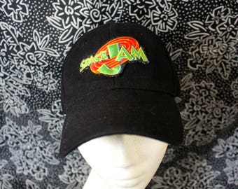 Space Jam Baseball Cap. Black Baseball Cap With Space Jam Patch Sewn On It. DIY Looney Tunes Michael Jordan Space Jam Baseball Cap