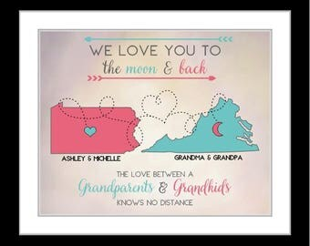 Unique grandparents gift, grandma and grandpa, from grandkids, long distance maps, keepsake for family, any coor or gray blue, two map art