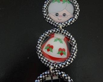 Bottle Cap Christmas Ornament: Mrs.Claus Santa Polka Dot bottle caps *unique NEW