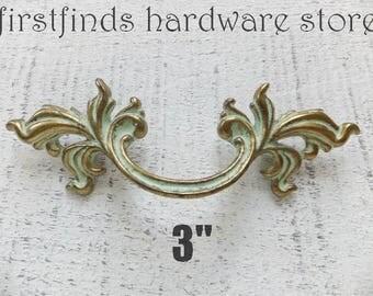 Shabby Chic Drawer Pulls Gold Handles Furniture Hardware Dresser French Provincial Cabinet Door Painted Original 3inch ITEM DETAIL BELOW