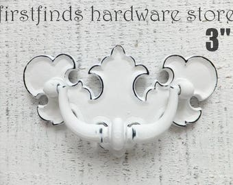 Drawer Pull Shabby Chic White Handle Furniture Hardware Vintage Chippendale Swing Cabinet Kitchen Fancy Border 3inch ITEM DETAILS BELOW