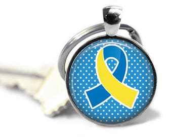 Down syndrome key chain - Embrace difference - Raise awareness - Awareness ribbon - Extra chromosome - Peace love - Trisomy 21