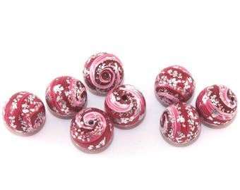 Artisan beads, round stripes beads for jewelry making, 8 polymer clay ball beads in red, pink and silver, handmade beads, unique beads