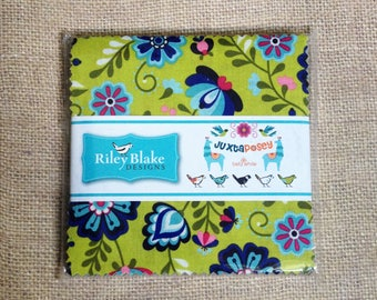 """Juxtaposey 42 Ct. Charm Pack 5"""" Stacker Pre-cut Quilt Squares Cotton Fabric by Riley Blake - Llama, Chicken, Floral"""