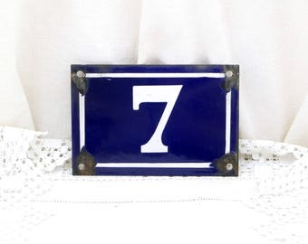Antique Porcelain House Number, Blue and White Traditional French Enamel House Number Plate Number 7, Vintage, Retro, French, Signs, Street