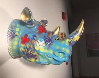 Decorated Rhino Head