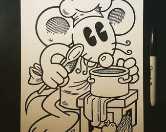 Sharpie Sketch Drawing -  Happy Happy Cook Rat