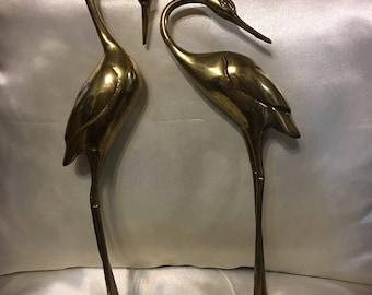 Vintage Brass Heron Bird On Turtle