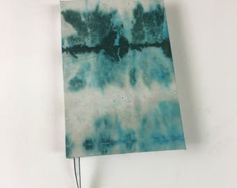 Green and White, Tie Dye, Pocket Size, Sketch Book, Bullet Journal, Writing Journal, Blank Journal, Notebook, Travel Journal, Lay Flat