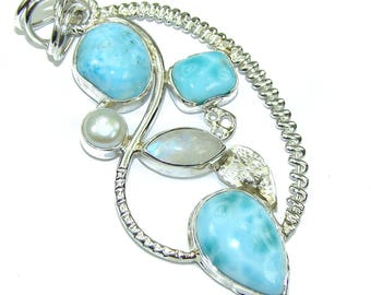 Larimar, Moonstone Sterling Silver Pendant - weight 11.90g - dim L -2 5 8, W -1 3 8, T -1 4 inch - code 18-sty-16-26