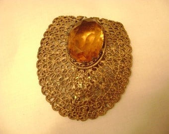 Art Deco Fur Clip, Scarf Clip, Vintage Jewelry Clip