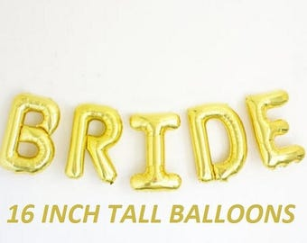 SALE 16 inch BRIDE letters balloons GOLD for Bridal Showers Wedding Decorations Foil Mylar Metallic Balloon Air balloon