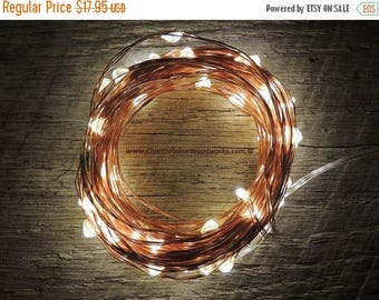 CLEARANCE limited supply 100 LED Battery Operated Fairy Lights, 10M 33 feet,  Rustic Wedding Decor, Room Decor, Copper Wire Strand Warm Whit