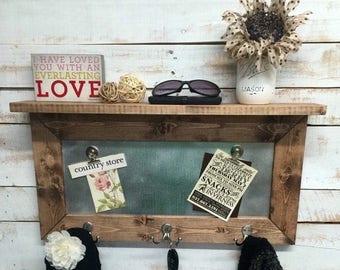ON SALE Rustic home decor, entryway shelf, coat rack, galvanized metal, wood shelf, metal shelf, Rustic Shelf, entry way shelves, coat rack
