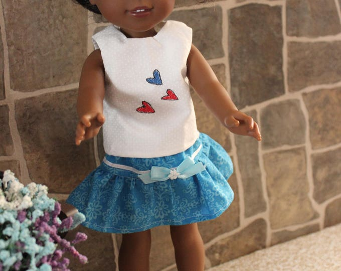 Three Hearts Blouse, Blue Skirt with Blue Ribbon and Shoes,Handmade to fit the likes of Wellie Wishers/Heart to Heart Dolls, FREE SHIPPING