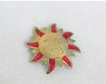 Summer Sale Southwestern Smiling Sun Brooch, Enamel Pink and Silver, Stamped Alpaca Mexico, Vintage Item, Alpaca Silver
