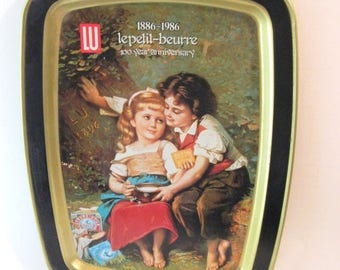 Fall Sale Vintage 1986 100 Year Anniversary  Tin Tray from Lu LePetite-Beurre