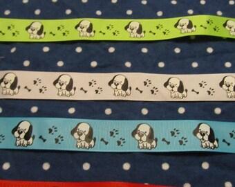 25 Yards 7/8 Inch Dog/Puppy Grosgrain Ribbon