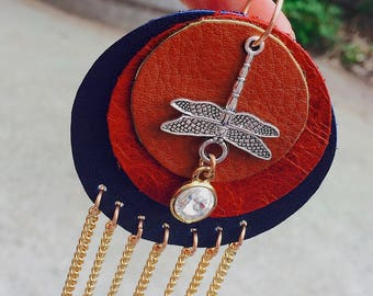 leather dragonfly dangle