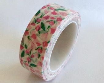 "SALE Floral Washi Tape ""Delicate Pink Floral""  15mm x 10 Meters"