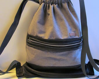 Canvas backpack grey with genuine leather