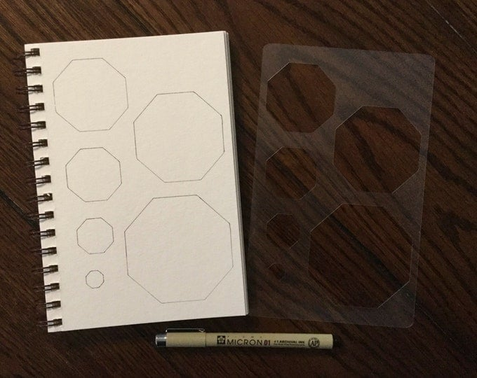 """Nesting Octagon Stencil (5"""" x 8"""") ~ 6 Sizes for All Journals, Postcards, Tiles, Greeting Cards, Drawing"""
