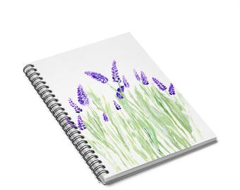 Lavender Notebook, lavender journal, lavender painting, floral notebook, lavender gift, flower notebook, floral journal, flower journal