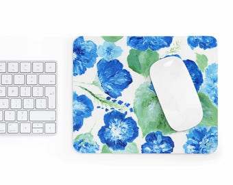 Blue Floral Mousepad, blue mousepad, floral mouse pad, flower mousepad, floral mousepad, blue and white