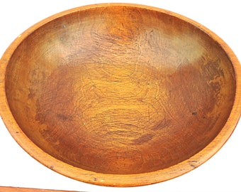 Antique Wood Bowl Turned Chopping Dough Bowl Primitive Farmhouse Rustic