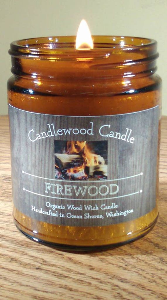 FIREWOOD -  Organic Wood Burning Wood Wick Fireplace Candle 9 oz. - Free Shipping in the USA