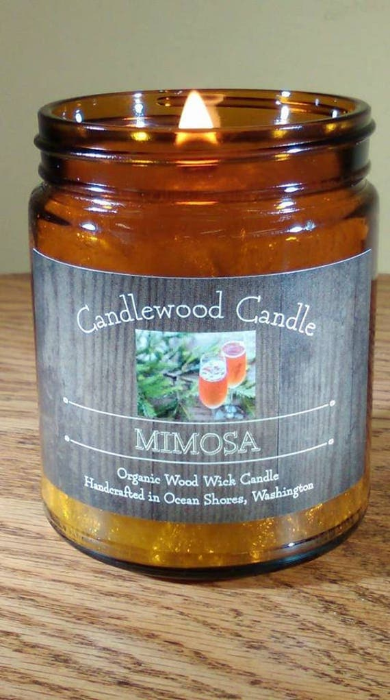 MIMOSA - Organic Mandarin Mimosa Wood Wick Candle - 9 oz Amber Jar with Black Lid - Free Shipping in USA