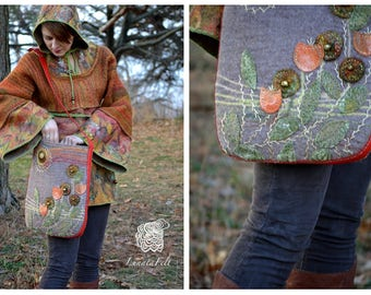 Boho  and hippy style wool felted bag with hand embroidery, from organic wool and natural leather, for yang elf - OOAK