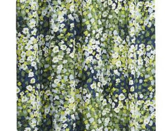 Curtain panel white green blue flowers Floral Scandinavian Modern Decor Cafe curtain Kitchen valance , runner , napkins available,great GIFT