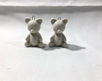 "Vintage White Porcelain Teddy Bears Ornaments Christmas Decoration 2"" Tall"