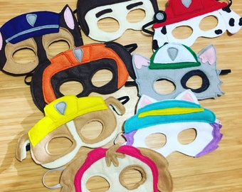 Paw Patrol Mask Set // Includes all 8 characters // Paw Patrol Party // Paw Patrol Prty Favor // Paw Patrol Gift idea