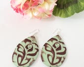 Leather earrings, floral earrings, flower earrings, roses, embossed leather, summer earrings, summer accessory, mint green