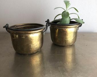 vingage brass cauldron planter 2 available