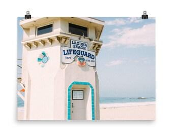 Laguna Lifeguard Beach Print, Laguna Beach Art Print