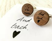 love note cufflinks. Personalised cufflinks. Wood Cufflinks. Grooms cufflinks. Valentine gift for men. Fathers day gift. Walnut cufflinks