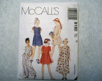 Vintage McCalls 8180 Girls Size 12 Pleated Dress, Romper, Jumpsuit Sewing Pattern - Sewing Supplies - Summer Dress Pattern for Girls