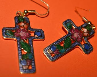 Vintage Enamel  Cloisonne Earrings  Flower Cross 1980s