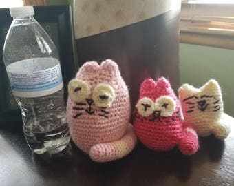 Pink and Cream Stuffed Crochet Cat  Family