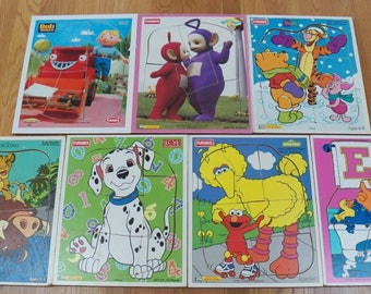 Lot of 7 Vintage Playskool Wood Board Puzzles~Bob Builder/Pooh/Disney/Sesame St+