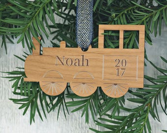 Personalized Train Christmas Ornament - Toddler Boy Gift - Wooden Ornament - Stocking Stuffer