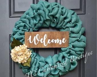 """22"""" Burlap Wreath, wreath, door wreath, welcome wreath, welcome home, burlap wreath, burlap decor, country wreath, burlap wreath with flower"""