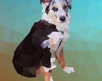 Geometric dog print, dog art, Art print, Abstract art, Abstract print, Geometric print, Geometric art, Modern, Australian Shepherd
