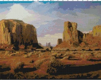 Desert Landscape PDF Cross-Stitch Pattern Chart Download by Bella Stitchery